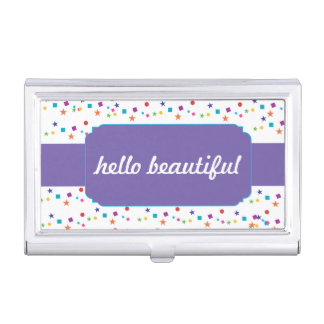 "Polka Dot with ""hello beautiful"" Business Card Holder"