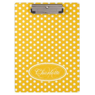 Polka dot yellow custom name and initial clipboard