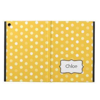Polka dot yellow name ipad air powis case