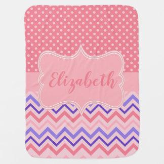 Polka Dot Zig Zag Personalized Name Pink Purple Baby Blanket