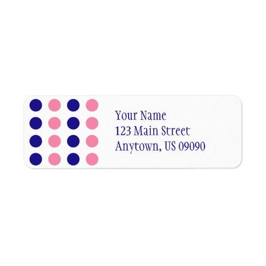 Polka Dots Address Label (Light Pink / Blue)