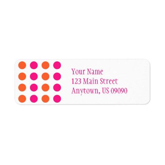 Polka Dots Address Label (Pink / Orange)