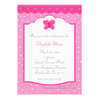 Polka Dots and Butterfly- Baby Shower Personalized Invitations