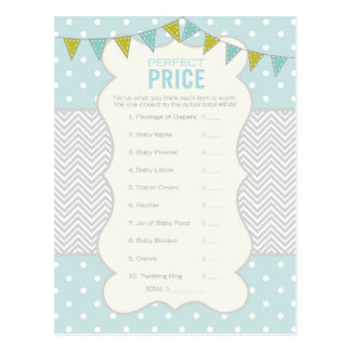 Polka Dots and Chevron - Baby Shower Game Postcard