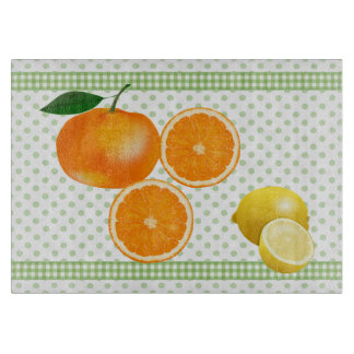 Polka Dots and Citrus Glass Cutting Board