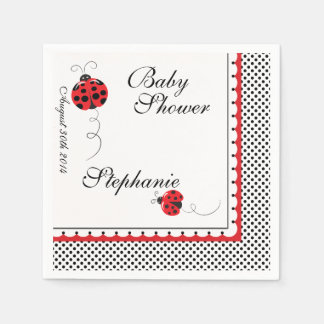 Polka Dots and Cute Ladybugs Paper Party Napkins Disposable Napkins