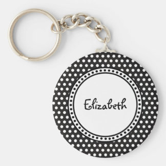Polka Dots and Name with Custom Color Background Basic Round Button Keychain