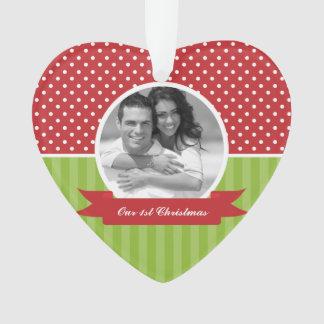 Polka Dots and Stripes Custom Photo Christmas Ornament