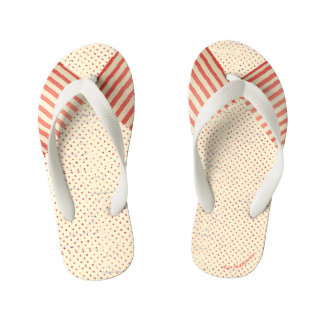 Polka Dots and Stripes Faded Vintage Look Kid's Flip Flops