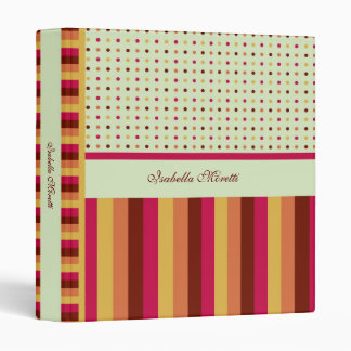 Polka Dots and Stripes Pattern Avery Binder