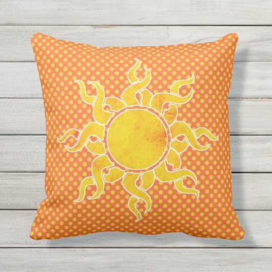Polka Dots and Sun Outdoor Pillow