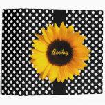 Polka Dots and Sunflowers Custom Binder