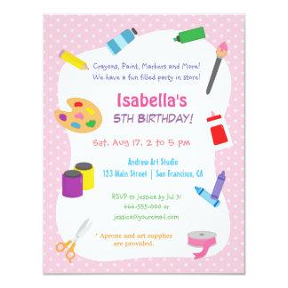 Polka Dots Arts and Crafts Kids Birthday Party Card