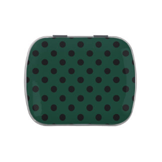 Polka Dots - Black on Dark Green