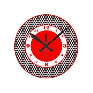 Polka Dots- Black, White & Red Round Clock
