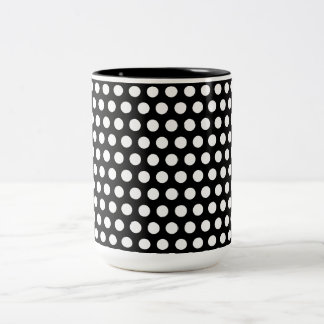 Polka dots black white spots retro pattern, gift Two-Tone coffee mug