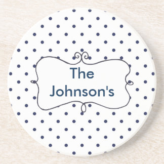 Polka Dots Blue and White Customize Coaster