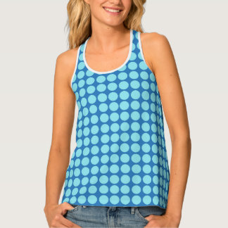 Polka Dots Circle Print Blue Tank Top