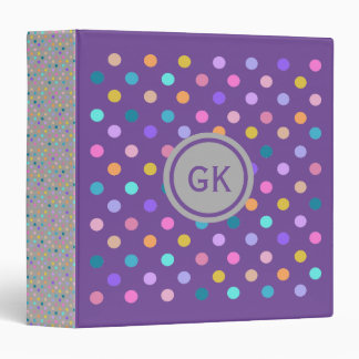 Polka dots color confetti  purple grey binder
