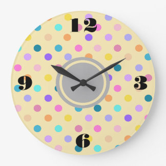 Polka dots confetti colors acrylic wall clock