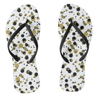 Polka Dots Confetti Golden Black Modern Trendy Flip Flops
