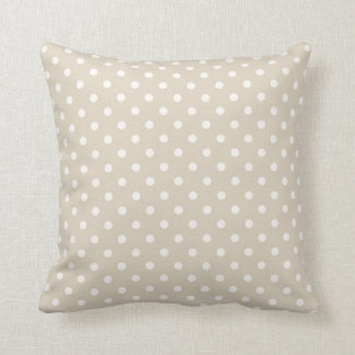 Polka Dots Cream Beige Neutral Colors Throw Pillow