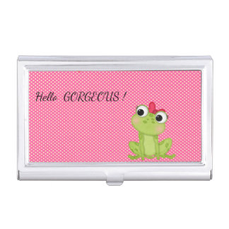 Polka Dots, Cute Froggy-Motivational message Business Card Cases
