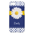 Polka Dots Daisy Navy Blue Yellow Personalized iPhone 8/7 Case