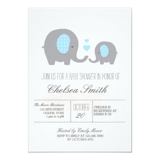 Polka Dots Elephant Baby Shower Grey and Blue Card