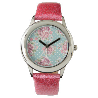 Polka dots floral shabby chic blue white elegant watch