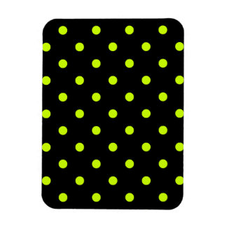 Polka Dots - Fluorescent Yellow on Black Rectangular Photo Magnet