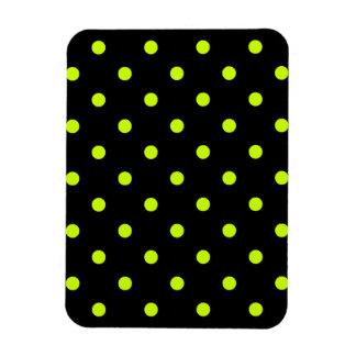 Polka Dots - Fluorescent Yellow on Black Rectangular Photo Magnet