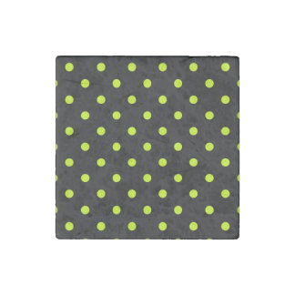 Polka Dots - Fluorescent Yellow on Black Stone Magnets