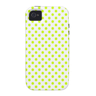 Polka Dots - Fluorescent Yellow on White iPhone 4 Cases