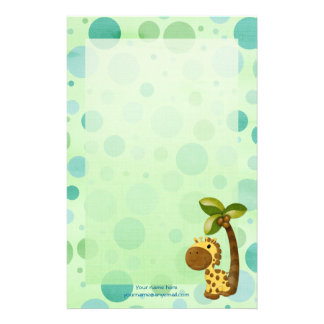 Polka Dots Giraffe - Neutral Baby and Kids theme Custom Stationery