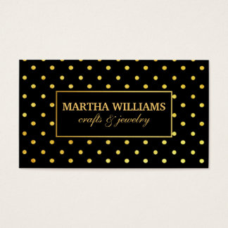 Polka Dots Gold and Black Label Business Card