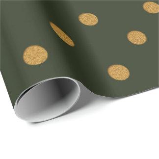 Polka Dots Gold Green Cali Woodland Salvia Wrapping Paper