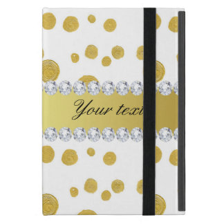 Polka Dots Gold Oil Paint and Diamonds Case For iPad Mini