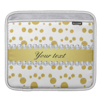 Polka Dots Gold Oil Paint and Diamonds iPad Sleeve