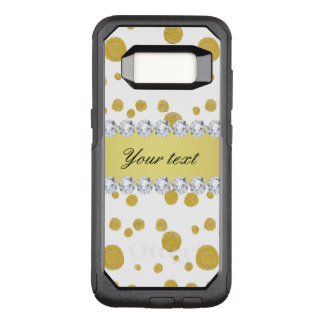 Polka Dots Gold Oil Paint and Diamonds OtterBox Commuter Samsung Galaxy S8 Case