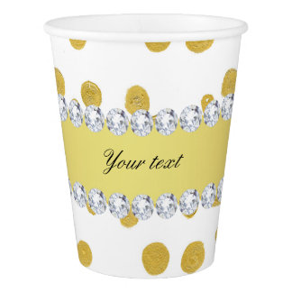 Polka Dots Gold Oil Paint and Diamonds Paper Cup