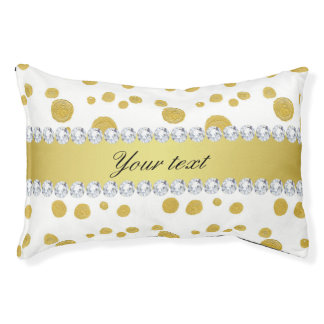 Polka Dots Gold Oil Paint and Diamonds Pet Bed