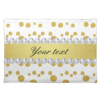Polka Dots Gold Oil Paint and Diamonds Placemat
