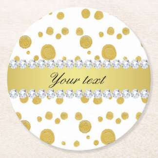 Polka Dots Gold Oil Paint and Diamonds Round Paper Coaster