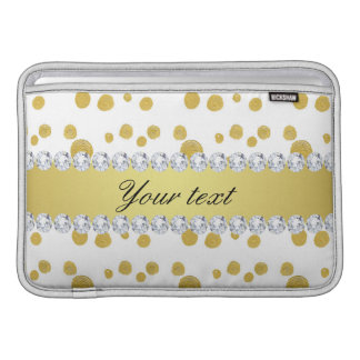 Polka Dots Gold Oil Paint and Diamonds Sleeve For MacBook Air