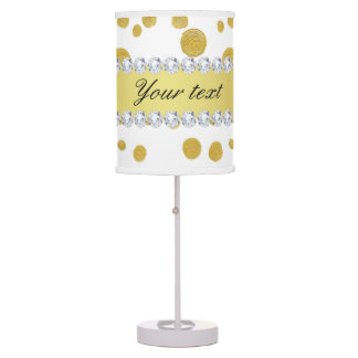 Polka Dots Gold Oil Paint and Diamonds Table Lamp