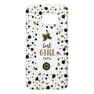 Polka Dots Golden Black Spring Butterfly Best Girl Samsung Galaxy S7 Case