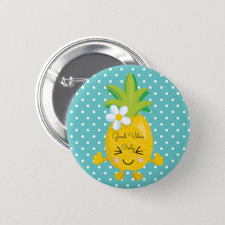 Polka Dots Good Vibes Only Pineapple 2 Inch Round Button