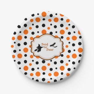 "Polka Dots Hallowen Paper Plates 7"""