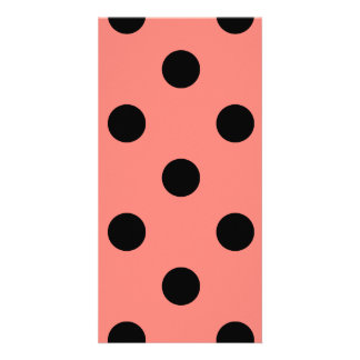 Polka Dots Huge - Black on Coral Pink Picture Card